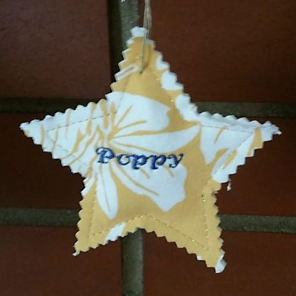 Christmas ornament star made with a loved one's shirt