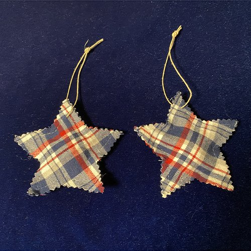 memory star Christmas ornaments made from a loved one's shirt