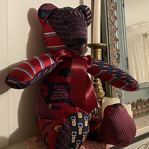 memory bear made from a loved one's neckties
